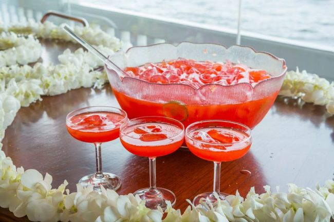 fruit punch with ice served in beautiful big glass bowl, events, parties, showers, anniversaries. eventandpartyideas.com