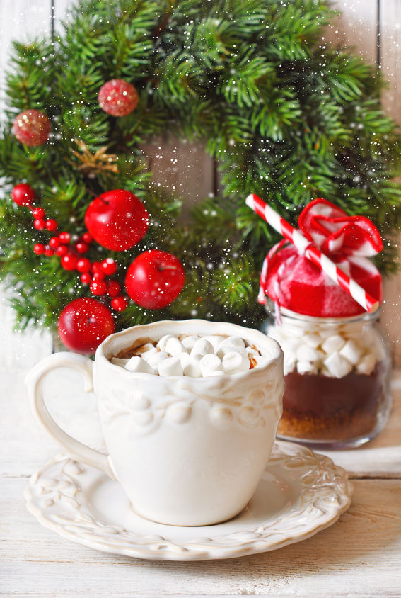 hot chocolate with marshmallow for christmas holiday, hot chocolate bar, winter, fun. eventandpartyideas.com