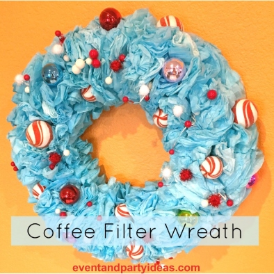 coffee-filter-wreath-, peppermint, ornaments, red, blue. eventandpartyideas.com
