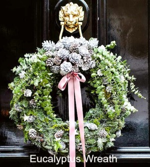 eucalyptus-wreath, ribbons, flowers. eventandpartyideas.com