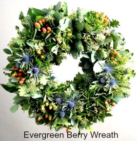 evergreen-berry-wreath, flowers, holiday, fall. eventandpartyideas.com