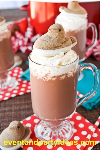 peeps, hot chocolate, whipped cream, holiday, christmas, event, birthday. eventandpartyideas.com