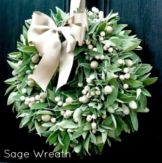sage-wreaths, ribbons, berries.  eventandpartyideas.com