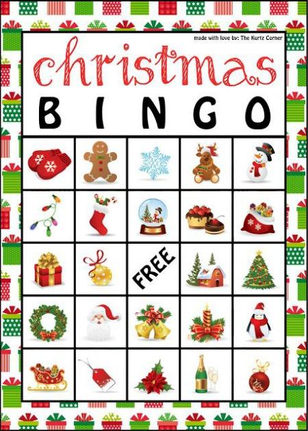 christmas-bingo, family christmas game.  eventandpartyideas.com