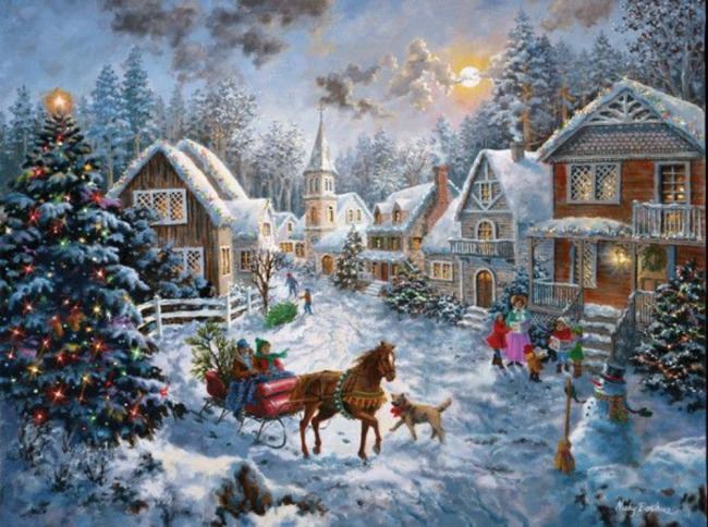 christmas-scene-puzzle, horse drawn sleigh, christmas tree with lights.  eventandpartyideas.com