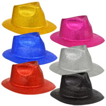 glittery-fedora-shaped-plastic-party-hats, new year's party, mardi gras. eventandpartyideas.com