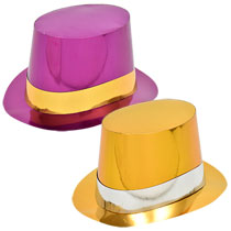 metallic-paper-party-top-hats, new year's party, birthday party, mardi gras. eventandpartyideas.com