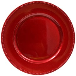 red-plastic-chargers-with-beaded-rims-13-inch, inexpensive party. eventandpartyideas.com