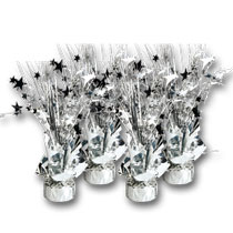 silver-balloon-weights-centerpieces, birthday, wedding, party, showers. eventandpartyideas.com