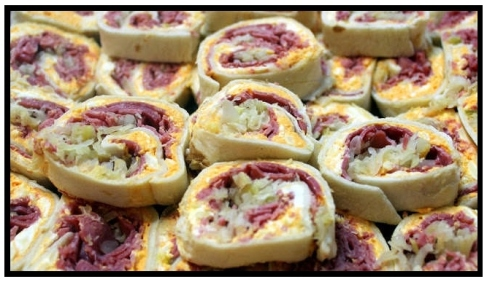 pinwheels-2, reuben, sandwich, pinwheels, st. patrick's day, party, sauerkraut, corned beef. eventandpartyideas.com